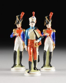 A Group Of Three German Polychrome Painted Porcelain