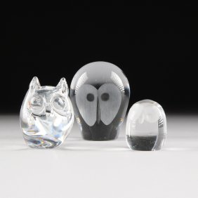 A Collection Of Three Glass Owl Paperweights, 20th