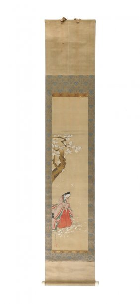 A Vintage Japanese Watercolor And Ink On Silk Scroll,