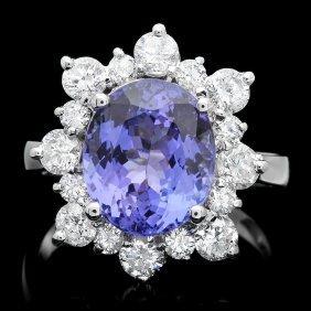 14k Gold 4.50ct Tanzanite 1.35ct Diamond Ring