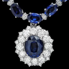 14k Gold 28ct Sapphire 3.40ct Diamond Necklace
