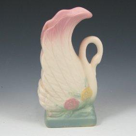 """Hull Open Rose 118-6 1/2"""" Swan Vase - Mint"""