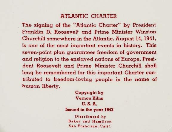 Quotes By Vernon Baker: 778: C. 1942, FDR-Churchill Atlantic Charter Plate : Lot 778