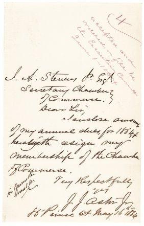 1864 John Jacob Astor Jr Autograph Letter Signed