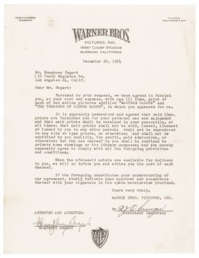 1954 Humphrey Bogart Signed Contract Document