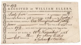 1788 William Ellery Continental Loan Office Form