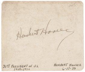 Herbert Hoover Autograph Book Leaf Signed