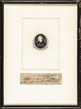 1834 Andrew Jackson Autograph Clip With Portrait
