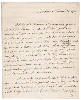 Extrem. Rare 1787 Thomas Paine Autograph Letter
