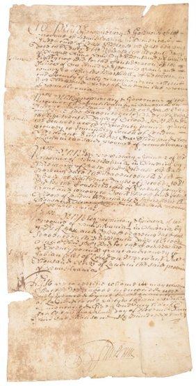 1681 William Penn Signed Pennsylvania Land Grant