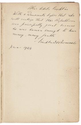 Franklin D. Roosevelt Book Inscribed + Signed