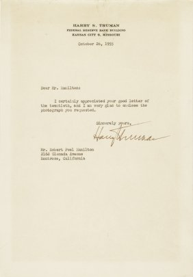 Harry S. Truman Archive 11 Typed Letters Signed!