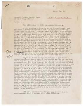 1943 Orson Welles Signed Acting Contract