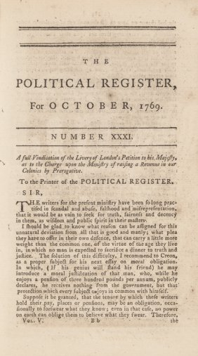 October 1769 Issue: The Political Register W/tax