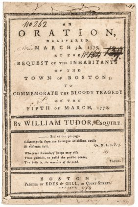1779 Pamphlet Commemorating The Boston Massacre!
