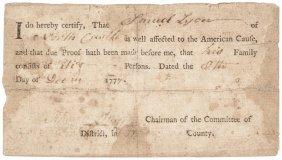 1777 Revolutionary War New York Loyalty Oath