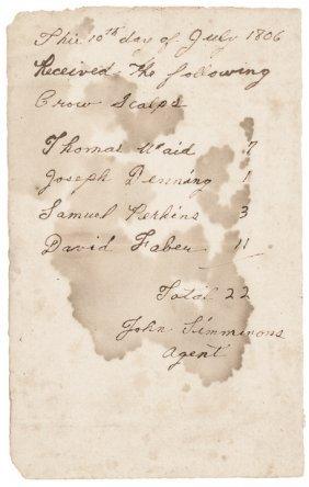 1806 Manuscript Receipt For Crow Scalps