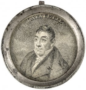 C. 1824 Lafayette's American Visit Pewter Mirror