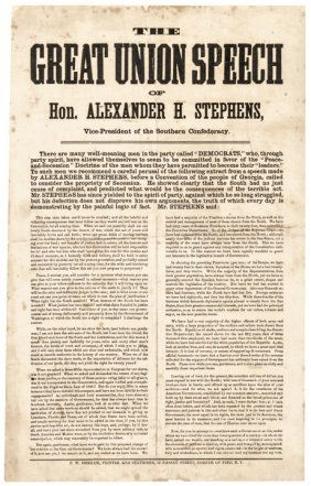 Broadside: Speech Of Hon. Alexander H. Stephens