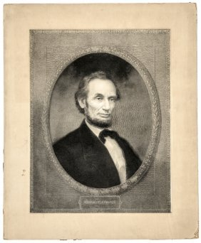 1866 + 77 Pair Of Engravings Of Abraham Lincoln