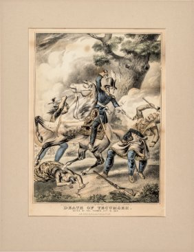 1841 Colored Lithograph Print: Death Of Tecumseh