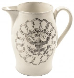 Liverpool Creamware Pitcher W/ Immortality Poem