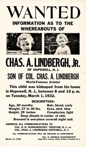 Pair Of Lindbergh Baby Kidnappers Wanted Posters