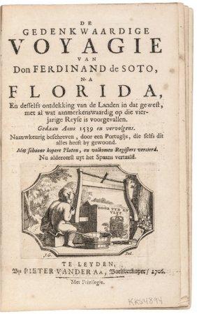 1706 Imprint With Map, Voyagie Ferdinand De Soto