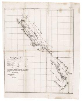 June 19, 1847 Original Map Of Western California