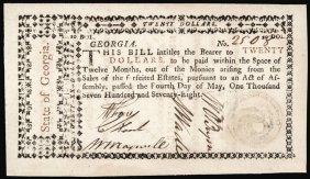Colonial Currency, Ga, May 4 1778 $20 Rattlesnake