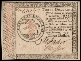 Continental Currency, Jan 14, 1779 $3 Pcgs Au-53