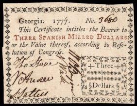 Colonial Currency, Ga. 1777 $3 Pmg Ef-40 Epq