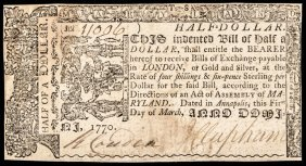 Colonial Currency, Md. March 1, 1770 $1/2 Ch Vf