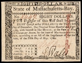 Colonial Currency, Ma. May 5, 1780 $8 No Cancel