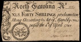 Colonial Currency. Nc. April 4, 1748 40s Note