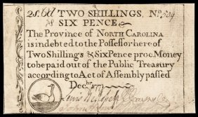 Colonial Currency, Nc. December 1771. 2s6d. Duck