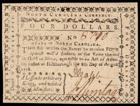 Colonial Currency Nc Aug 8, 1778 4 Dollar Gem Cu