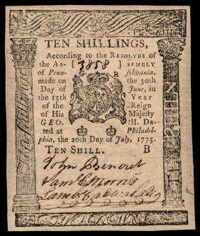 Colonial Currency Pa. July 20, 1775 Pmg Ch Cu-64