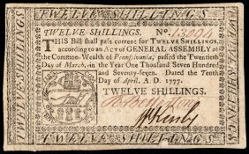 Colonial Currency, Pa. April 10, 1777 12s Ef