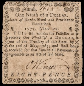 Colonial Currency, Ri. May 1777 $1/9 Pmg Fine-15