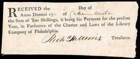 1796 Library Company Of Philadelphia Receipt