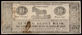 1834 Humbug Glory Bank, 10 Cents In Mint Drops