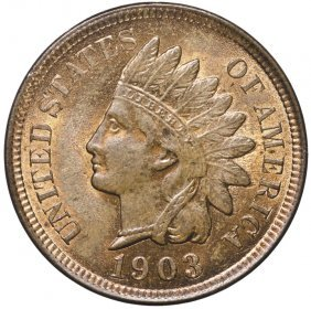 1903 Indian Head Cent Choice Red And Brown Unc.