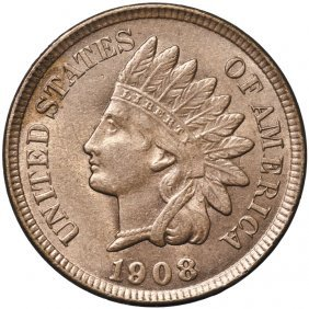 1908 Indian Head Cent Satiny Reddish-brown Unc