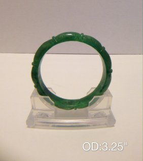 Chinese Carved Green Jade Bangle