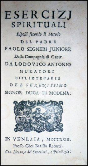 [jesuits, Spiritual Exercises] Muratori, Esercizi, 1723