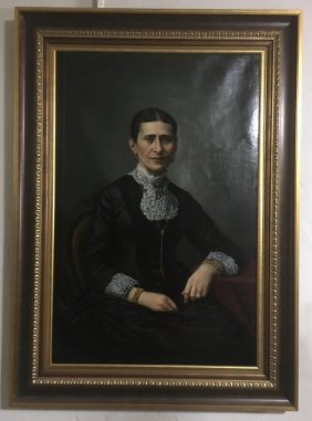Antique Oil Painting Of Woman Seated