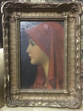 Vintage Oil Painting On Young Girl