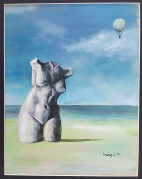 Magritte Watercolor Painting
