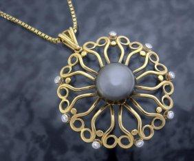 14k Tahitian Black Pearl / Diamonds Medallion Pendant